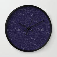 witchcraft Wall Clocks featuring Brujeria (Witchcraft) by Alexandra Aguilar