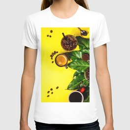 Border of various coffee on yellow background T-shirt