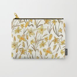 Yellow Floral Pattern Carry-All Pouch