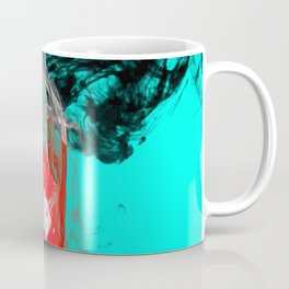 Marbled Collision - Abstract, red, blue, black and white mixed paint artwork Coffee Mug