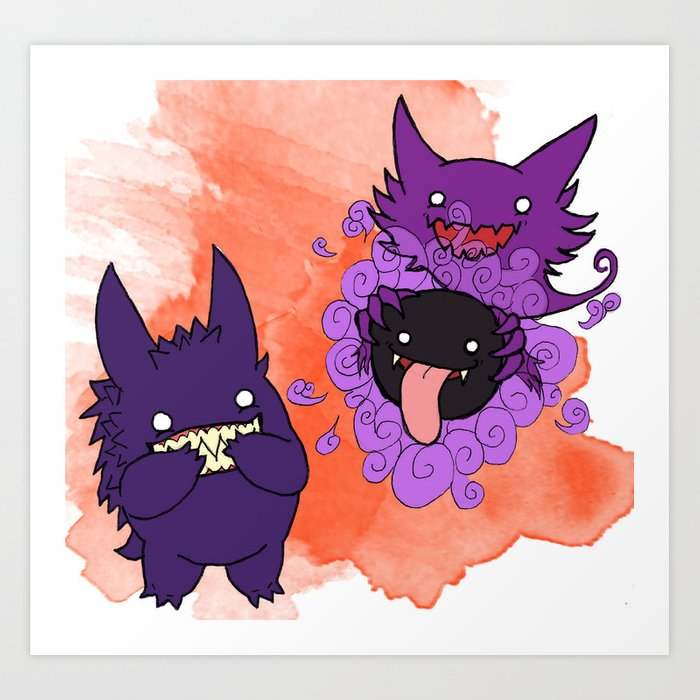 e0f1f0f4 Gastly, Haunter, and Gengar Art Print by brittneyemory | Society6