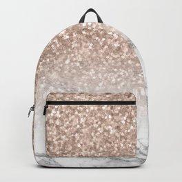 She Sparkles - Rose Gold Glitter Marble Backpack