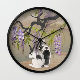 Two Rabbits Under Wisteria Tree Wall Clock