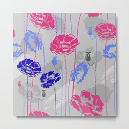 Tall Pink And Blue Flowers With Grey Background Metal Print