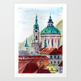 Prague Czech Republic watercolor Art Print