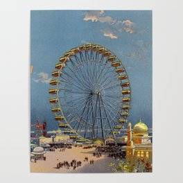 Ferris Wheel at Chicago World's Fair, 1893 Color Print Poster