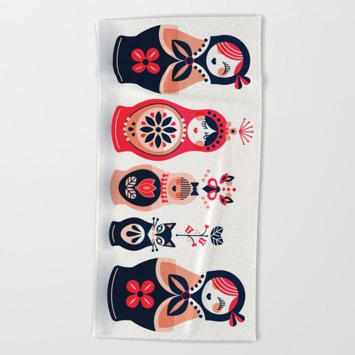 Russian Nesting Dolls – Hot Pink Beach Towel