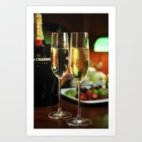 champagne Art Prints featuring champagne by laika in cosmos