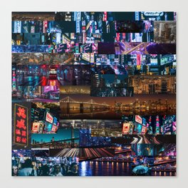 Cities of the world at night Canvas Print