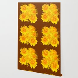 ABSTRACTED COFFEE BROWN   FIRST SPRING YELLOW DANDELIONS Wallpaper