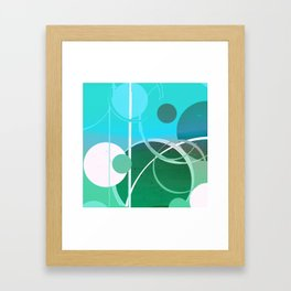 Turquoise Green Ombré Circle Abstract Design 2 Framed Art Print