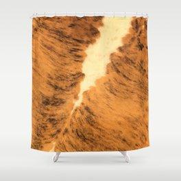 Burnt Orange Texas Longhorn Animal Leather Pattern Shower Curtain
