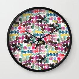 Colorful Polka Dots Ink Bleeding Wall Clock