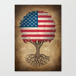 Vintage Tree of Life with Flag of The United States Canvas Print