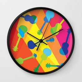 ukulele pattern Wall Clock