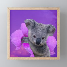 Koala and Orchid Framed Mini Art Print