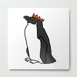 Classic Penguin with a Party Hat Metal Print