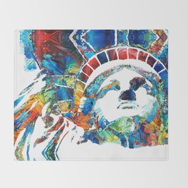 Colorful Statue Of Liberty - Sharon Cummings Throw Blanket