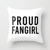 fangirl Throw Pillows featuring FANGIRL by The Fandom Designs
