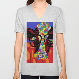 Spectacled Cow Unisex V-Neck