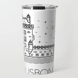 Belém Tower Lisbon Portugal Black and White Travel Mug