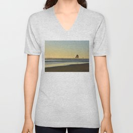 Cannon Beach Sunset Unisex V-Neck