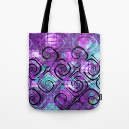 Purple Plaid Twisted Mess Tote Bag