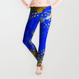 Royal Blue and Gold Abstract Lace Design Leggings
