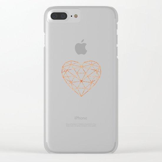 COPPER HEART (WHITE) Clear iPhone Case