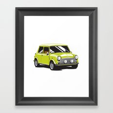 Mini Cooper Car - Chartreuse Framed Art Print