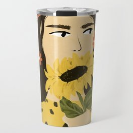 Sunflowers In Your Face Travel Mug