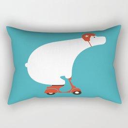 Polar bear on scooter Rectangular Pillow