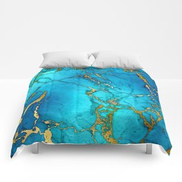 Gold And Teal Blue Indigo Malachite Marble  Comforters