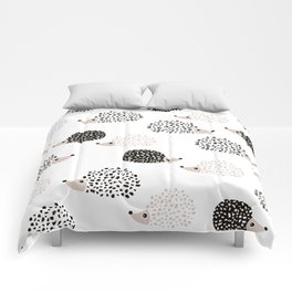 Hedgehog friends black and white spots Comforters