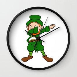 Funny Dabbing Leprechaun St Patricks Day Wall Clock