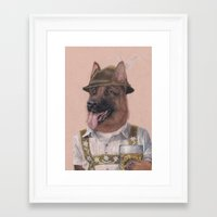 german shepherd Framed Art Prints featuring German Shepherd by Rachel Waterman
