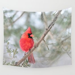 Winter's End Cardinal Wall Tapestry