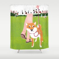 shiba Shower Curtains featuring Shiba inu in Central Park by Tatsuro Kiuchi