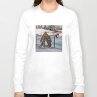 outdoor Long Sleeve T-shirts featuring Outdoor hockey rink by RMK Photography