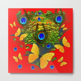 GREEN PEACOCK FEATHERS YELLOW BUTTERFLIES ON  RED ART Metal Print
