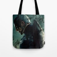 steve rogers Tote Bags featuring Steve Rogers 006 by TheTreasure