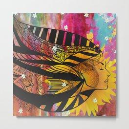 Goddess Of Sunflowers Metal Print