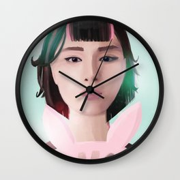 South Korean Girl With Hair Rollers and Bunny Ear Fan Portrait for K-Pop Lovers Wall Clock