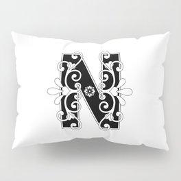 Letter N Elegant Scroll Initial Pillow Sham