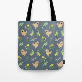 Golden Retriever and Spring Flowers Pattern Print Tote Bag