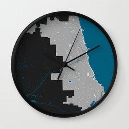 Chicago Illinois Minimalist Map (Dark) Wall Clock
