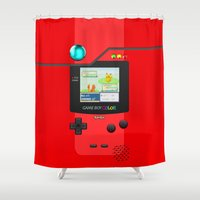 gameboy Shower Curtains featuring Gameboy Color Pokedex by Veylow