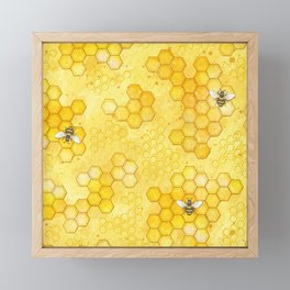 Meant to Bee - Honey Bees Pattern Framed Mini Art Print