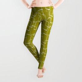 Acid Green Retro Geometric Pattern Leggings