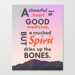A Cheerful Heart Typographic Art Canvas Print